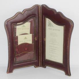 50cm  x  30cm Red Leather Gold Embossed Double Folding Menu Holder