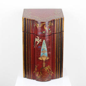 39cm Red 'Chinoserie' Knife/Store Box