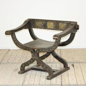 3Ft Oak & Brass  x  Frame Throne Chair
