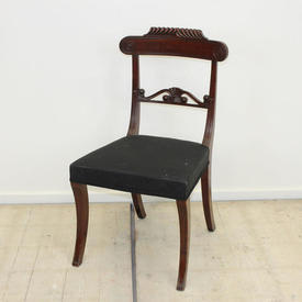 Mah Regency Style Dining Chair with Carved Rest & Waist Rail on Sabre Legs