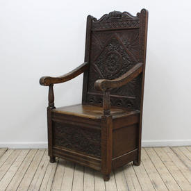 Ornate Carved Oak Open Arm Box Throne Chair