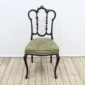 Mah Edwardian Dining Chair Green/White Flower Patt