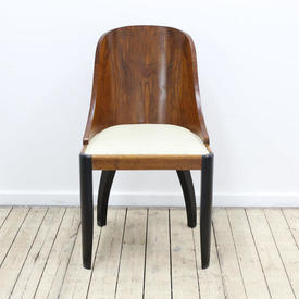 Dark Walnut Deco Style Tub Back Dining Chair on Ebonised Legs with Cream Leather Drop in Seat