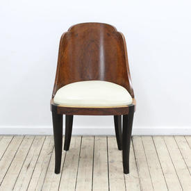 Dark Walnut, Stepped Tub Back Dining Chair on Ebonised Legs with Cream Leather Drop in Seat