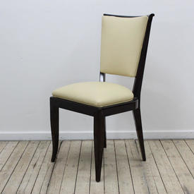 Rosewood Coloured, Lacquered High Back Deco Style Dining Chair, Cream Leather Seat & Back
