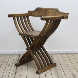 Lightwood Slatted Cross Frame 'Savanorola' Folding Chair