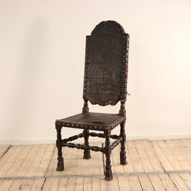 Tall Dark Oak Dome Top Spanish Hall Chair with Leather Embossed Seat & Back