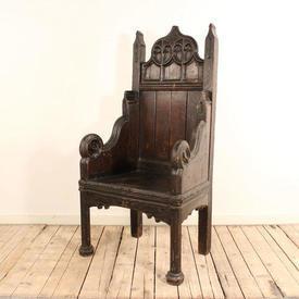 Dark Oak Gothic Style Throne Chair