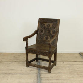 Carved Oak Open Elbow Chair with Wooden Seat