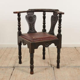 Carved Oak Corner Chair with Leather Seat