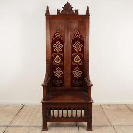 Mahogany  Softwood Throne Chair with Red Velvet Back