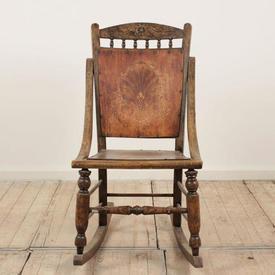 Oak & Wooden Panel Seat & Back Rocking Chair