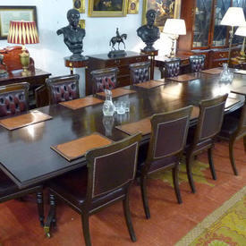 """22'6"""" Mahogany Cabinet Room Table in 3 Sections with 4 Brass Clips + 6 Pedestals"""