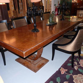 "10' x  3'8"" Walnut Art Deco 3 Part Dining Table"