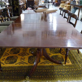 """14' x  4'4"""" Mahogany Dining Table with 3 Leaves, 3 Pedestal Tripod Base, Slats And 8 Brass Clips"""