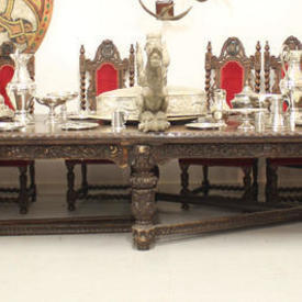 """17' x  4'6"""" Carved Oak Elizabethan Dining Table with 2  x  Frame Bases"""