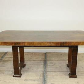"6' x  3'2"" 2 Part Walnut Deco Dining Table"