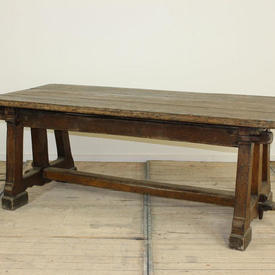 """6'6"""" Oak Refectory Table with 2 Ends & 1 Rail +  Pegs"""