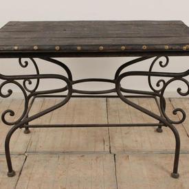 "3'10"" x  2'6"" Dark Hardwood Table on Black Metal Base"