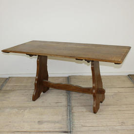 """5' x  2'6"""" Scrubbed Oak Refectory Style Table on Stretcher Base"""