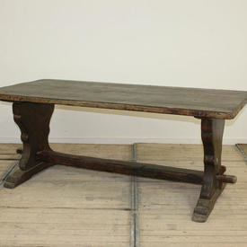 """6'5"""" x  3' Oak Refectory Table with 2 Silhouette Shaped Ends & 1 Rail (with Pegs)"""