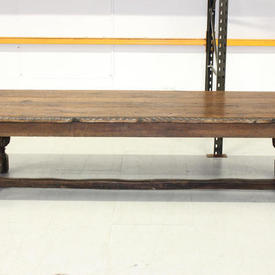 """9'10"""" x  3'5"""" Oak Elizabethan Refectory Table on Carved Bulbous Legs And Stretcher Frame"""