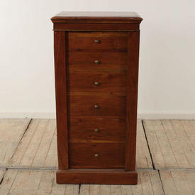 Mahogany 6 Drawer Narrow Filing Cabinet