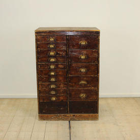 Mahogany 15-Drawer Filing Cabinet