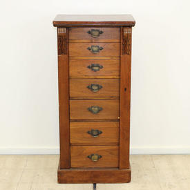 Light Mahogany 7 Drawer Wellington Filing Cabinet with Brass Handles