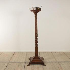 6' Mahogany Victorian Barley Twist Hat & Coat Stand with Brass Hooks & Paw Feet