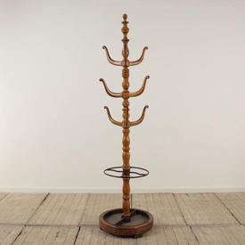 Fruitwood Multi Branch Circular Hat & Coat Stand with Umbrella Spill