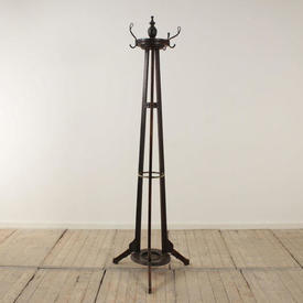 Stained Oak Triple Upright Hat & Coat Stand with Finial Top