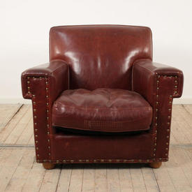 Red Leather Baxter Armchair
