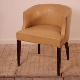 Cream Leather Office Tub Chair with Rosewood Legs