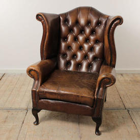 Brown Leather Button Back Wing Chair