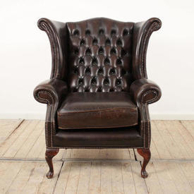 Dark Brown Leather Button Back Wing Chair