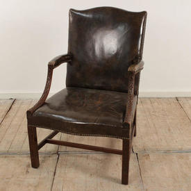 Mahogany & Brown Leather Studded Sides Georgian Open Armchair