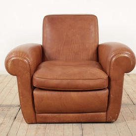 Brown Leather Roll Arm Club Chair