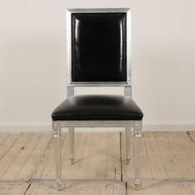 Silver Frame Occasional Chair with Black Leather Seat & Back