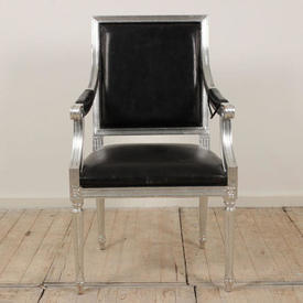 Silver Frame Elbow Chair with Black Leather Seat & Back