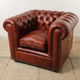 Rusty Brown Leather Buttoned Chesterfield Easy Chair