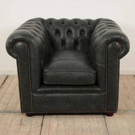 Green Leather Button Back Chesterfield Easy Chair