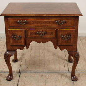 Walnut Queen Anne Style 4 Drawer Lowboy with Pad Feet