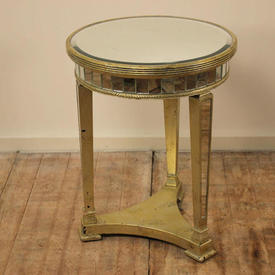 Circular Silver Gilded Lamp Table on Tri Legs with Mirrored Top And Legs (H69Cm  x  W&D51Cm)