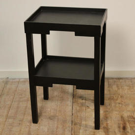 "Blk Painted 2'4"" Rect 2-Tier Lamp Table"