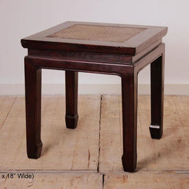 Teak Low Sq Opium Table with Bamboo Top  (H49Cm  x  W&D45Cm)