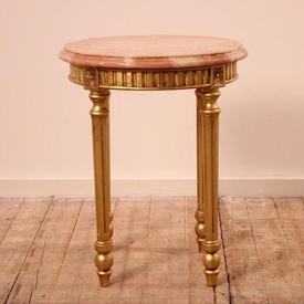 Circ Gilded Fluted Leg Lamp Table with Marbleized Top (W49Cm  x  H60Cm)