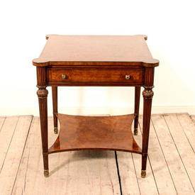 Square Figured Walnut Lamp Table with Drawer, Undershelf & Pull Out Sides (H66Cm  x  W&D61Cm)