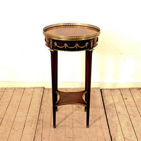 """16"""" Circ  Mahogany, Marquetry inlaid Lamp Table with Drawer"""