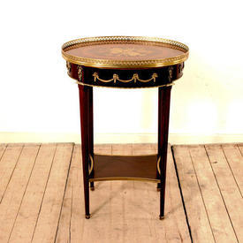 Oval Mahogany, Marquetry Musical inlaid Top Lamp Table with Drawer (H73Cm  x  W51Cm  x  D38Cm)